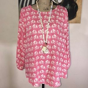 Pink And White Blouse With Elephants